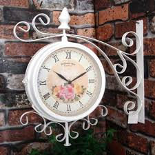 bentley garden cream vintage 37cm double sided wall clock