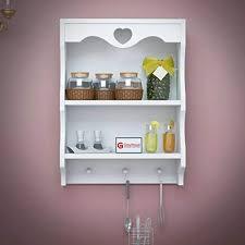 rjkart wooden bathroom wall shelf