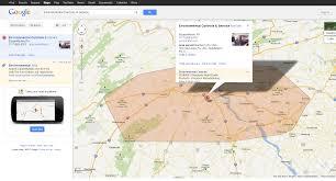 google maps show service area feature