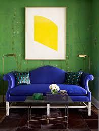 Cobalt blue sofa| Interior Designer: ...
