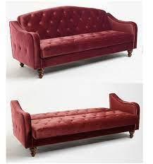 red velvet sofa bed burdy tufted