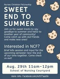 Sweet End To Summer Nursing Christian Fellowship