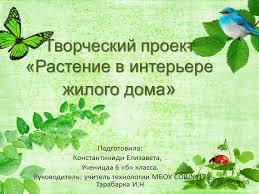 Презентация на тему Творческий проект Растение в интерьере  1 Творческий