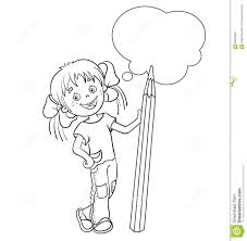 Small Picture Coloring Page Outline Of A Cartoon Girl With Pencil Stock Vector