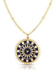 image of sphera milano 18k gold sterling silver compass pendant necklace