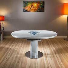 modern dining table grey gloss round oval extending 1200 1600mm new