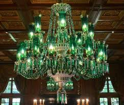 bohemian cut crystal chandelier with moser like hurricane shades and cut glass prisms and swags 60 inches wide x 75 inches high estimate 60 000 80 000