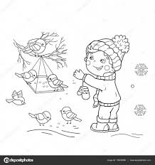 Small Picture Coloring Page Outline Of cartoon boy feeding birds Bird feeder