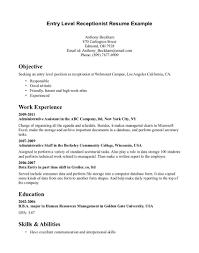 Front Desk Receptionist Resume Sample Medical Receptionist Resume Objective Sample Name Singular 54