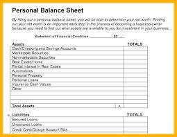 Sample Personal Balance Sheet Financial Balance Sheet Template Umbrello Co