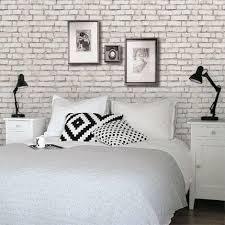 white brick wallpaper bedroom