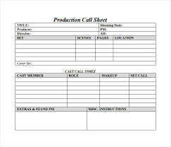 Daily Call Sheet Template Free 13 Sample Call Sheet Template In Word Pdf