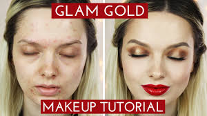 acne coverage glamorous golden makeup tutorial mypaleskin you