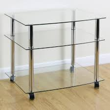 medium size of glass shelf tv stand mobile chrome clear gl3 shelf tv stand trolley unit