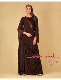 Singh Designer Mini Singh Designer Brown Long Dress 8948
