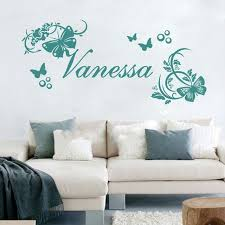 customer made personalised name vine butterflies flowers wall art stickers baby decor you choose on personalised wall art for baby with customer made personalised name vine butterflies flowers wall art