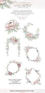 Garden Floral Watercolor Flowers Clipart Boho Rustic