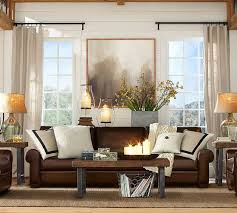 leather sofa brown couch living room