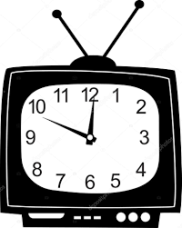 かわいい壁時計テレビ ステッカー ストックベクター Colorvalley