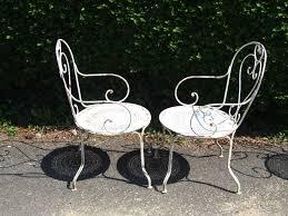 Wrought iron garden furniture antique Used G096s Pair Antique French Wrought Iron Garden Chairs Vintage Metal Garden Furniture Uk Dotrocksco G096s Pair Antique French Wrought Iron Garden Chairs Wicker Patio