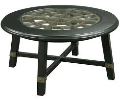 new vintage round grid cocktail table with glass insert