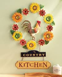Rooster Wall Decor Kitchen Kitchen Metal Rooster Wreath Wall Decor Sunflowers Mums Home Decor