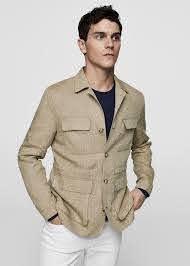 Striped linen field jacket - Men ...