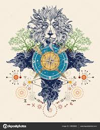 Mystic Barevné Tetování Lev Kompasu Překřížené šipky Růže