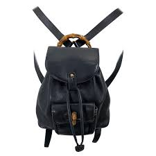 gucci vintage mini backpack black leather signature bamboo handle for at 1stdibs