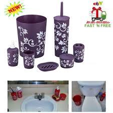 7 Pcs Bathroom Accessory Set Purple Flower Dish Dispenser