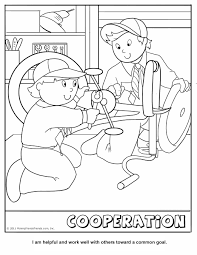 Cooperation Coloring Page Wolf Cub Achievement