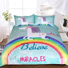 unicorn bedding set believe miracles cartoon single bed duvet cover animal for kids girls rainbow bedspreads teenage bedding girl bedding sets from ziyu168