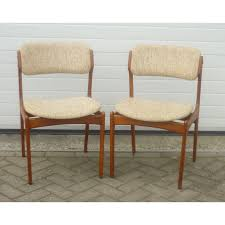 o d mobler set of dining chairs in teak and wool erik buch 1960s