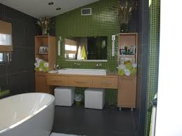 grandiose lime green wall painted and grey tiles bathrooms wall as well as oak vanity cabinet feat single sink also oval soaker tubs on grey floor tiled in