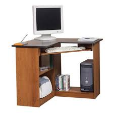 space saving corner desk with pullout keyboard tray