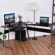 corner desk l shaped office wood large pc game table workstation home furniture