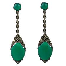 deco marcasite and green onyx earrings for
