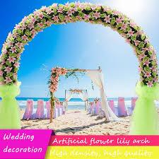 High grade <b>silk artificial flower</b> row arch <b>flower</b> wall lily arch high ...