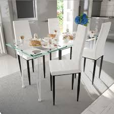 modern 4 pcs white slim line dining room chairs office chair artificial leather
