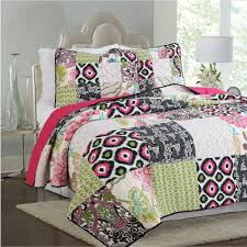 CHAUSUB Patchwork Cotton QUILT Set 3PC Quilts Bed Sheets Washed ... & CHAUSUB Patchwork Cotton QUILT Set 3PC Quilts Bed Sheets Washed Quilted  Bedspread Printed Bed Cover Pillowcase Coverlet Set-in Quilts from Home &  Garden on ... Adamdwight.com