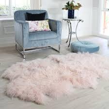 blush pink mongolian sheepskin quatro area floor rug runner