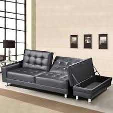 leather sofa bed. Image Is Loading Modern-Black-Faux-Leather-3-Seater-Sofa-Bed- Leather Sofa Bed