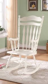 Image Indoor Outdoor Meublescasa Antique White Embossed Back Solid Wood Rocking Chair Chaise Bercante Dossier Engave Bois Massif Blanc Antique
