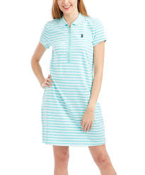 U S Polo Assn Blue Stripe Quarter Zip Polo Dress Women