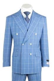 Light Blue Windowpane Suit Est Light Blue With White Windowpane Wide Leg Pure Wool Suit Vest By Tiglio Rosso 404150 2