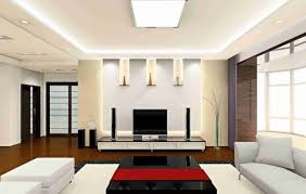A Modern Living Room With Tray Ceiling And Cove Lights Effect