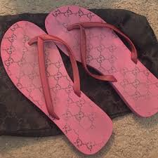 gucci used. gucci shoes - authentic used pink flip flops