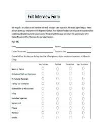 Exit Interview Questionnaire Sample Employee Form Template On