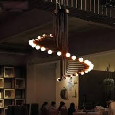 ceiling lights pipe ceiling light pendant lamp industrial style black led bulb lighting fixture restaurant