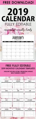 Blank Editable Calendar Free Fully Editable 2019 Calendar Template In Word